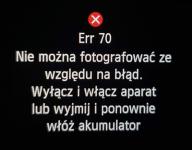 Err70 nie można fotografować ze względu na błąd