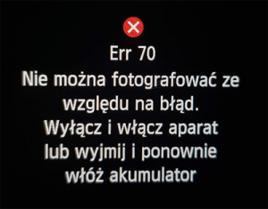 Err70 nie można fotografować ze względu na błąd
